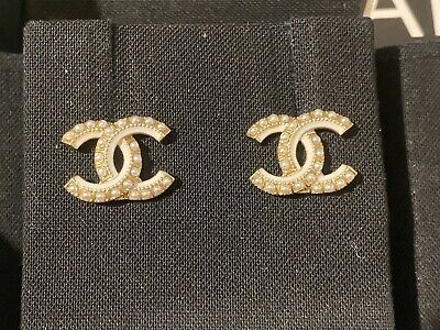 Authentic Classic Chanel CC Logo Crystal Gold Tone Brass Pearl Earrings Studs