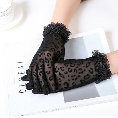 Mittens Mesh Leopard Lace Women Gloves Short Gloves Lace Gloves Driving Gloves