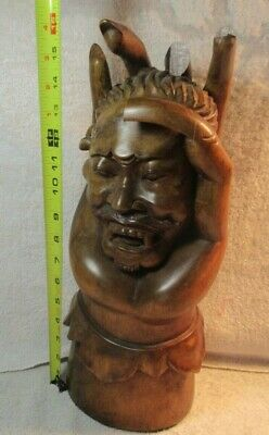 Devil / Satan Head held in hand - Solid Wood - Handcarved - Evil - Gothic. 16""