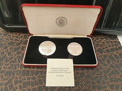 1974 Iceland 1000 & 500 Kronur Two Coin Silver Proof Set Cased With Certificate