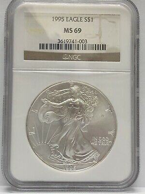 1995 Silver American Eagle NGC MS 69 BROWN LABEL