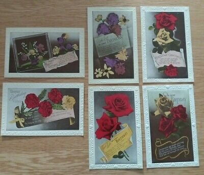 Collection of  6 Vintage  Pre  1914  Embossed  Floral Birthday  Postcards