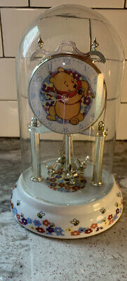 Disney Winnie The Pooh Clock Glass Dome Porcelain Base & Dial
