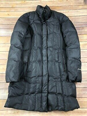 Womens Eddie Bauer Long Goose Down Coat Knee Length Small Black Winter Ski Snow