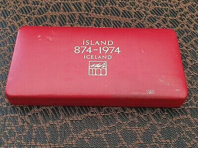 1974 Iceland 1000 & 500 Kronur Two Coin Silver Proof Set Cased .