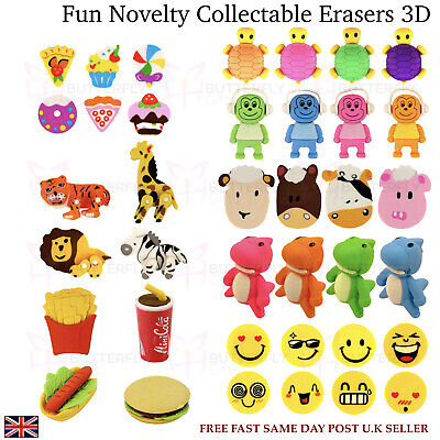 Novelty Fun 3D Erasers School Rubbers Stationery Safari Animals Moving Parts