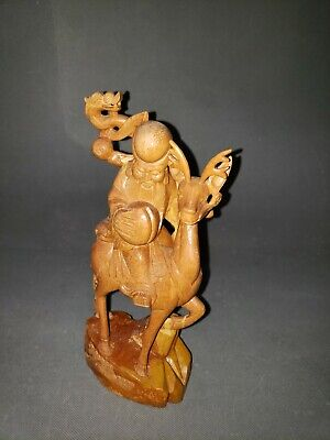 Vtg Chinese Hand Carved Wood Longevity Figure Statue Shou Lao God Elder Sage