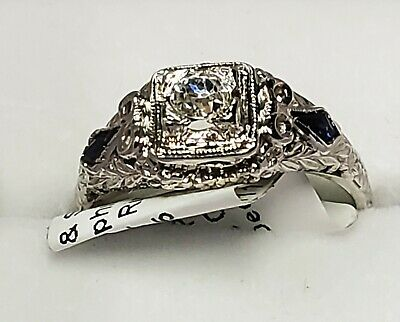 Antique Art Deco Diamond 0.29 ctw and Sapphire Ring 2.30gm 18K White Gold Size 4