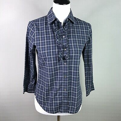 Theory Women's Shirt Button Front Cotton 3/4 Sleeve Top Blue Plaid Print Small
