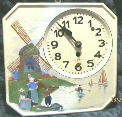 Vintage 1910s German Porcelain FR Mauthe 8-Day Wall Clock Old Dutch Mill A11