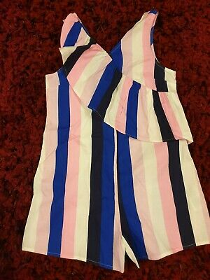 M&S Girls Age 9-10 Pink Summer Stripe Playsuit Shorts