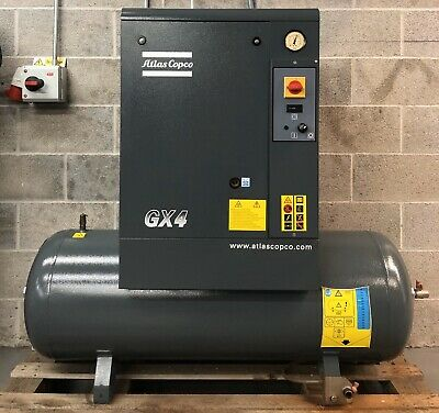 Atlas Copco GX4 Receiver Mounted Rotary Screw Compressor, Immaculate! 16.5Cfm!