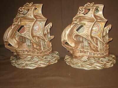 Pair Vintage Hand Painted Creamic Sailing Ships Wall Plaques Atlantic Mold