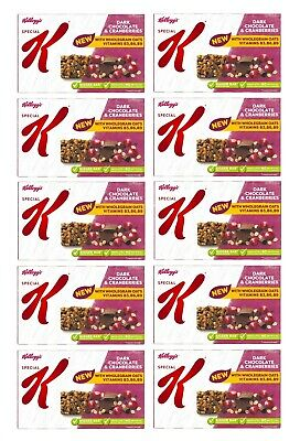 10x Kellogg's Special K Dark Chocolate and Cranberries Cereal Bars, Free P+P