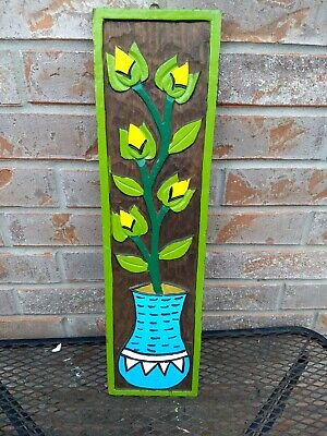 Vintage Wood Flower Vase Wall Hanging Art Hand Carved Wood / Green Yellow Blue