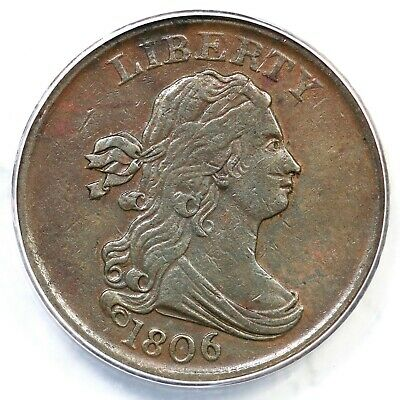 1806 C-1 ANACS EF 40 Small 6 No Stems Draped Bust Half Cent Coin 1/2c