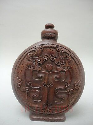 Collect Ancient China Old Hand Carved Bamboo Classic Dragon Beast Snuff Bottles