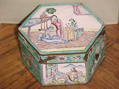Chinese Japanese Hexagon Hand Painted Enamel Box Everyday Life Scenes Floral