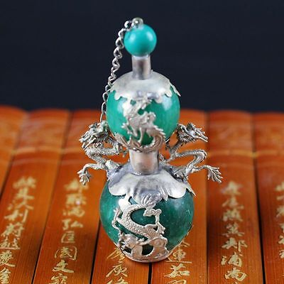 Collection of Miao silver jade dragon and phoenix gourd-shaped snuff bottles s