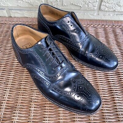 Loake Men's 8.5 Black Leather Wingtip Derby Brogue Oxford Dress Shoes 202B