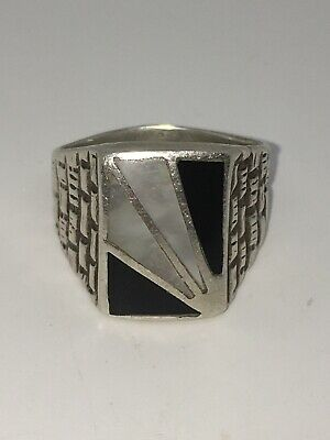 VINTAGE OLD PAWN *ZUNI * STERLING SILVER * MULTI STONE INLAY*MEN'S RING Sz 10.5