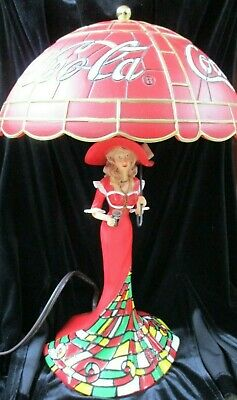 COCA-COLA Stained-Glass Lady Table Lamp by The Bradford Exchange A1238 Ltd. Ed