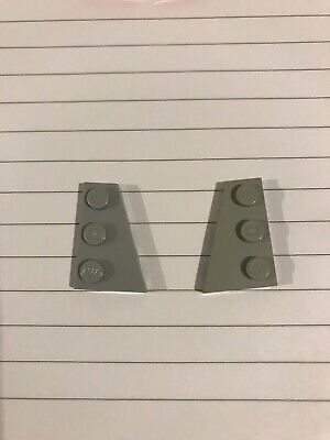 LEGO PART 43722 43723 LIGHT BLUISH GREY WEDGE PLATE 3 X 3 RIGHT /& LEFT FOR 1PAIR