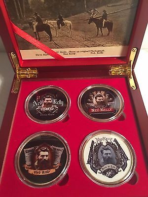"""""""NED KELLY"""" Outstanding Boxed Set of 4 Colour Printed 999 24k Gold plated coins"""