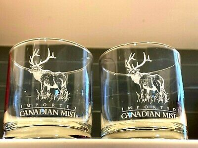 Imported Canadian Mist etched Elk Cocktail Bar Rock Glass Tumblers
