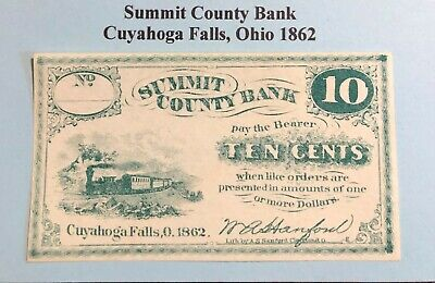 Ohio Obsolete Currency 1862 10 Cents Summit County Bank Cuyahoga Falls