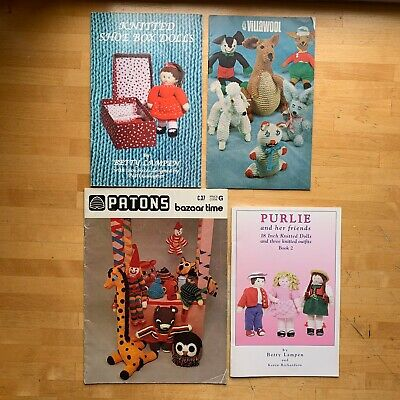 FOUR Vintage Knitting Crochet Toy Pattern Booklets