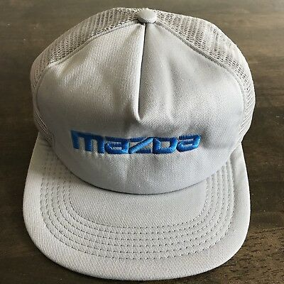 Vintage Mazda Trucker Hat Mesh SnapBack Cap Embroidered Gray