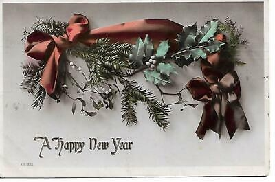 A Happy New Year 1900's Postcard Used