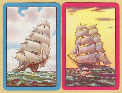 2 Single VINTAGE Swap/Playing Cards SAILING SHIPS TALL SHIPS Blue/Red Borders