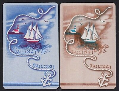 2 Single VINTAGE Swap/Playing Cards SAIL BOAT LIGHT HOUSE ANCHOR 'SAILING TW-6-5