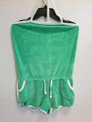 Womens Superdry Green White Cotton Casual Dungaree Shorts Uk M 10 W28