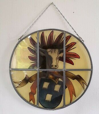 """Stained Glass Hand Painted Heraldic Panel - Butcher's, Cow's Head 15"""" Diameter"""
