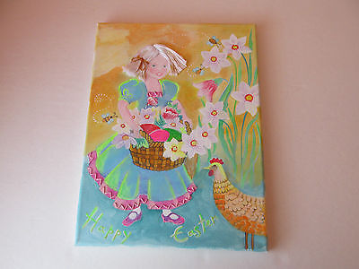 """Handpainted Russian Girl Easter Egg+Rooster Folk Art Painting Canvas 9""""x 12"""""""
