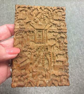 Antique Chinese Elaborate Hand Carved Wooden Card Case Rare!