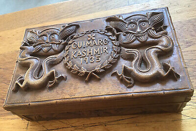 Exceptional Antique Hand Carved Wooden Jewellery Box Gulmarg Kashmir 1935 India