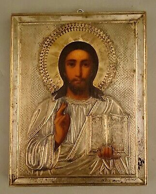 Antique Russian Orthodox Icon Hand Painted Jesus Pantocrator Silver Riza Oklad