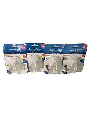 4 Packs Of 2 Tommee Tippee Silicone Teats BPA Free
