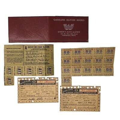Gasoline Ration Book Stamps 1935 Ford & Michigan Liquor Control Commission Cards