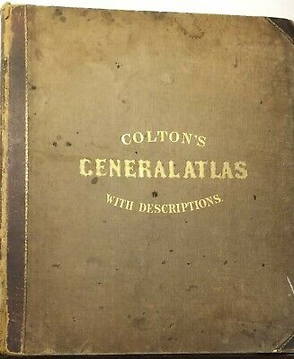 Beautiful Colton's General Atlas 1859 with 170 Steel Plate Maps