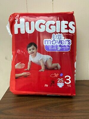 Huggies Little Movers diapers size 3 (25 Count) Free S&H