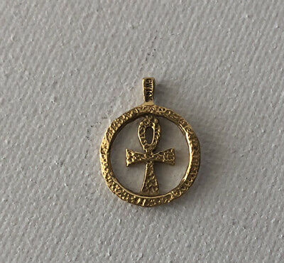 New real 14k yellow Gold Egyptian Cross ankh Pendant 1.20 inch long ON SALE NW