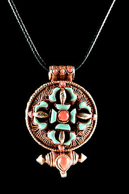 19th C. Tibet Silver & Copper Turquoise & Coral Amulet