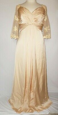Mother of Bride Dress Formal Gown Empire Lace Sleeves Champagne Beige 16, 14