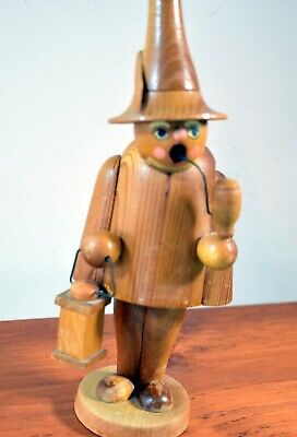 Vtg German Hand Carved Wooden Smoking Incense Burner-Erzgebingische 7.75 Inch