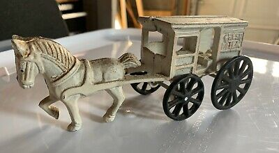 Cast Iron Horse Drawn Fresh Milk Wagon. 1950's toy antique collectible.